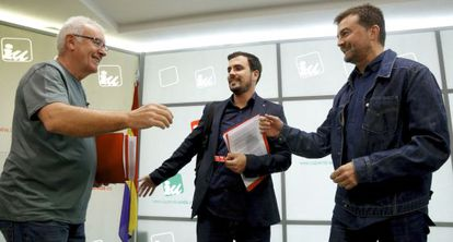 Cayo Lara, Alberto Garzón y Antonio Maillo en el comité político federal de IU