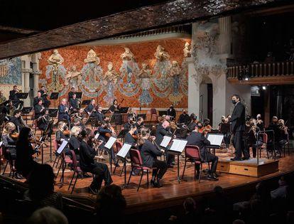 La Mahler Chamber Orchestra en su actuación en el Palau de la Música.