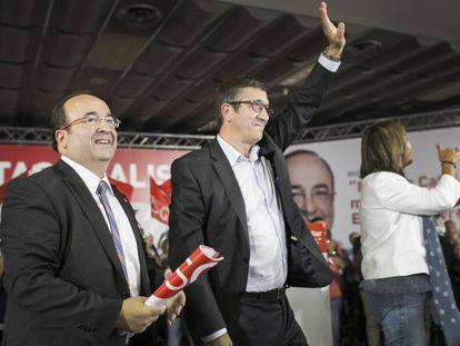 Mitin del PSC en el Hospitalet del Llobregat. Miquel Iceta, Nuria Marin y Patxi Lopez.