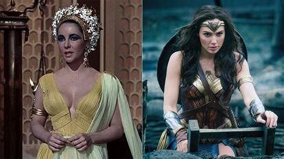 A la izquierda, Elizabeth Taylor en 'Cleopatra'. A la derecha, Gal Gadot en 'Wonder Woman'.