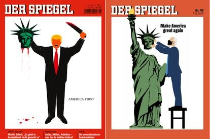 Covers of 'Der Spiegel' with images of Donald Trump and Joe Biden.