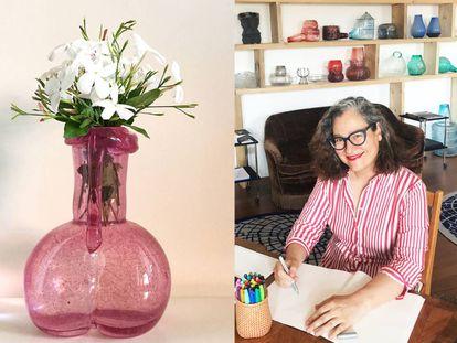 A la izquierda, 'Verga florida'. A la derecha, Gala Fernández en su estudio.  
