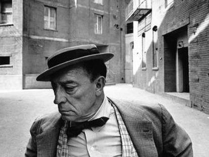 Buster Keaton captado por última vez en los estudios MGM en 1965.