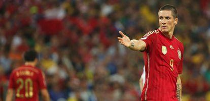 Fernando Torres, durante el partido contra Chile.