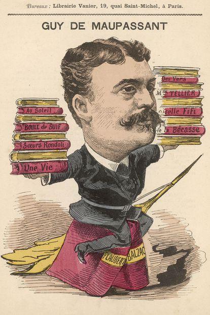 Caricatura del escritor Guy de Maupassant (1850-1898).