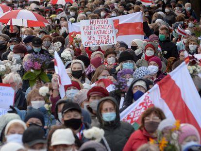 Protestas por la democracia y contra Lukashenko, el pasado lunes en Minsk.
