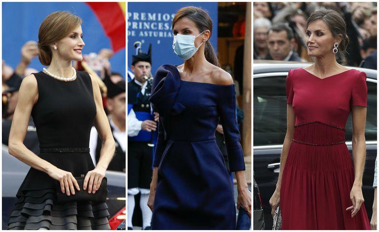 La reina Letizia en los premios Princesa de Asturias de 2015, 2020 y 2019.