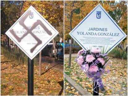 La placa en homenaje a Yolanda, vandalizada y restaurada.
