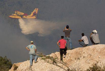 Un grupo de residentes sigue las labores de extinción de un hidroavión en Ein Hod, al norete de Israel.
