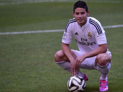 El jugador colombiano durante su presentación en Madrid.