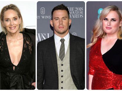 Los actores Sharon Stone, Channing Tatum y Rebel Wilson.