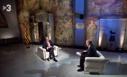 Vicent Sanchis entrevista a Quim Torra en TV-3.