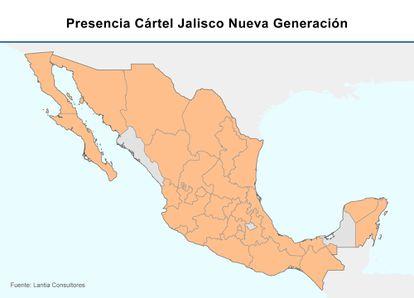 Los Estados marcados en naranja muestran la extensión del territorio controlado por el cartel Jalisco.