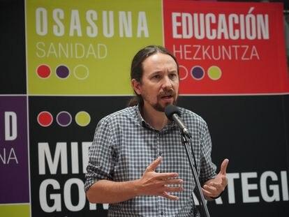 El vicepresidente Pablo Iglesias, en un acto de campaña este jueves en Durango.