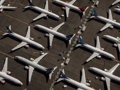 Aviones aparcados del modelo B737 MAX pendientes de entegrar