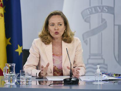 La vicepresidenta primera y ministra de Asuntos Económicos, Nadia Calviño.