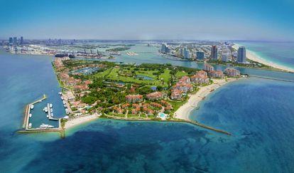Fisher Island y a la derecha Miami Beach.