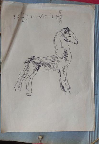 Un dibujo realizado por Francisco Brines cuando era adolescente, que estaba en una carpeta con sus poemas de 'Dios hecho viento'.