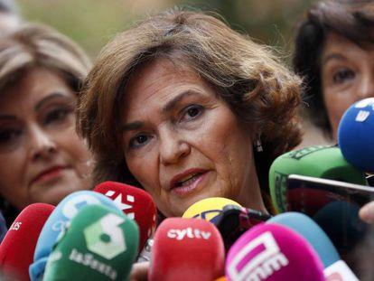 La vicepresidenta en funciones Carmen Calvo. En vídeo, declaraciones de Calvo.