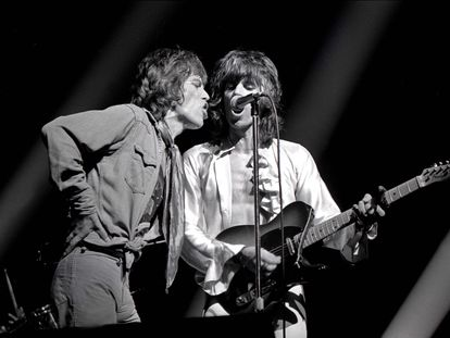 Mick Jagger y Keith Richards en un concierto de los Rolling Stones de 1972.