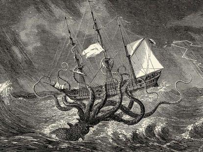 Grabado del siglo XIX que muestra un pulpo atacando un buque.