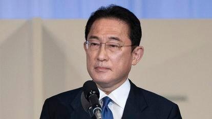 El nuevo líder del Partido Liberal Demócrata (PLD), Fumio Kishida, tras anunciarse su victoria en elas elecciones internas de la formación este miércoles.