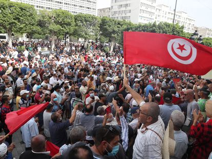 Manifestación contra el presidente de Túnez, Kais Said, celebrada el sábado 18 de septiembre en la capital del país.