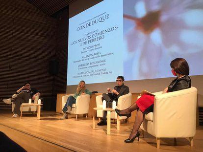 Uno de los debates entre Patricio Pron, Valentín Roma, Christina Rosenvinge y Marta González Novo organizado por el Área de Pensamiento del centro cultural Conde Duque.