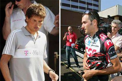 Jan Ullrich, a la salida del hotel donde estaba alojado en Estrasburgo. A la derecha, Ivan Basso caminando por una calle de la ciudad francesa.