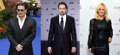De izquierda a derecha, los actores Johnny Depp, Nicolas Cage y Pamela Anderson.