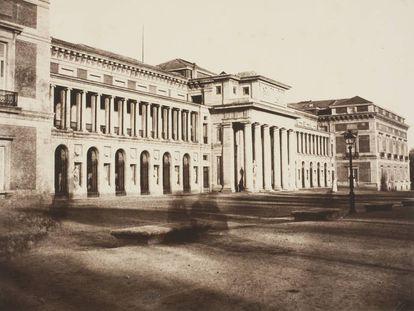 Museo del Prado, vista de la fachada oeste o de Velázquez (1859-1860).