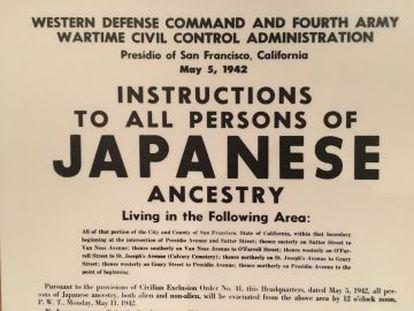 Orden militar para que los japoneses del área de San Francisco se presenten para su detención.