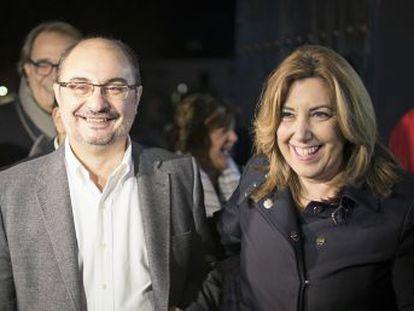 El dirigente aragonés respalda a la presidenta andaluza en la carrera por el liderazgo socialista