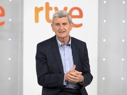 El presidente de RTVE, José Manuel Pérez Tornero, durante el encuentro con medios de comunicación celebrado este miércoles.