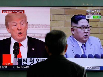 Donald Trump y Kim Jong-un, en un programa de televisión surcoreano.