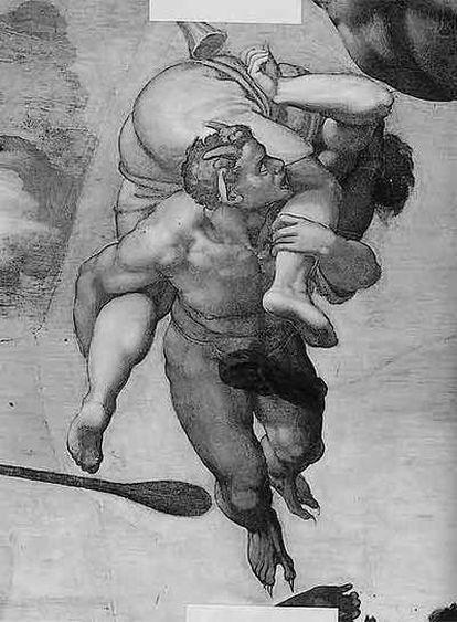 Un demonio lleva a un condenado al infierno en el Juicio Final pintado por Miguel Ángel.