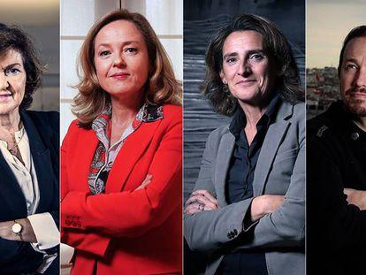 Desde la izquierda, Carmen Calvo, Nadia Calviño, Teresa Ribero y Pablo Iglesias. En vídeo, cuatro vicepresidencias para Sánchez, tres de ellas, ocupadas por mujeres.