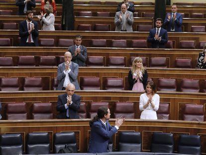 El vicepresidente segundo y ministro de Derechos Sociales y Agenda 2030, Pablo Iglesias, en el Congreso.