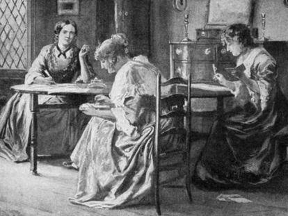 Recreación de Charlotte, Emily y Anne Brontë, en su casa de Haworth.