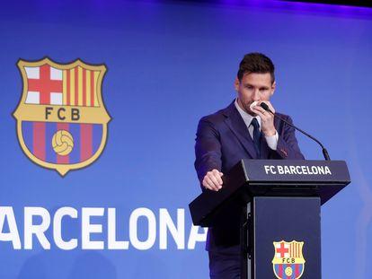 Lionel Messi, durante la rueda de prensa del 8 de agosto en Barcelona.