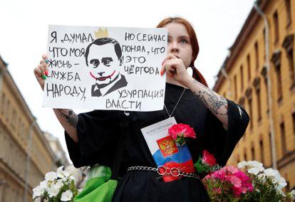 Protesta en San Petersburgo contra la reforma de la Constitución, este miércoles.