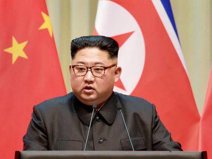 El líder de Corea del Norte, Kim Jong-un, durante su visita a China en abril.