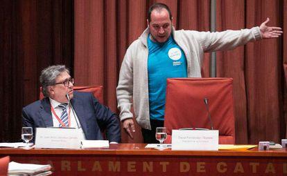 Joan Anton Sánchez Carreté, a la izquierda, y David Fernández, en la comisión de ayer.