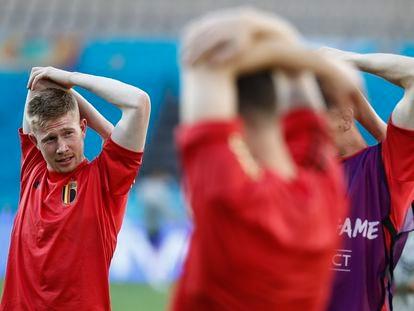 Kevin De Bruyne, este sábado durante un entrenamiento previo al partido contra la selección de Portugal, en Sevilla.