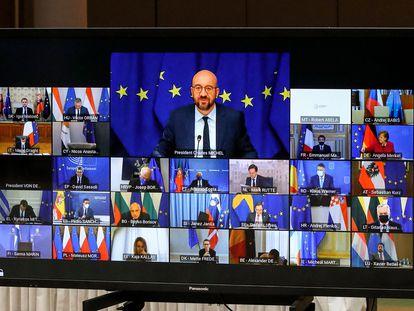 El presidente del Consejo de Europa, Charles Michel, reunido por videoconferencia con los líderes europeos el pasado 25 de marzo.