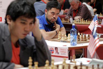 Wesley So y Hikaru Nakamura durante la Final de Maestros de Bilbao, en julio