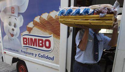Un repartidor de Bimbo en Ciudad de México.