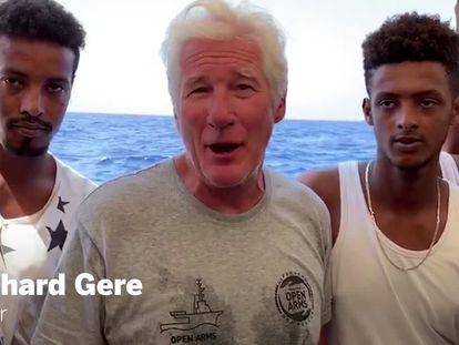Richard Gere, este viernes a bordo del 'Open Arms'.