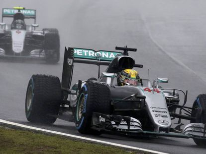 Hamilton y Rosberg en el GP de Brasil.
