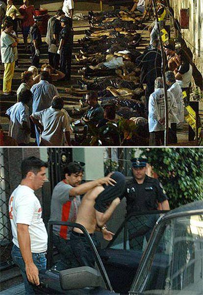 Los cuerpos de las víctimas yacen a la espera de su traslado a la morgue.
